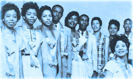 Picture of Little Rock Nine members with Mrs. Daisy Bates